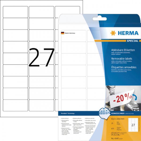 Etiket herma superprint 4347 63.5x29.6mm 675st