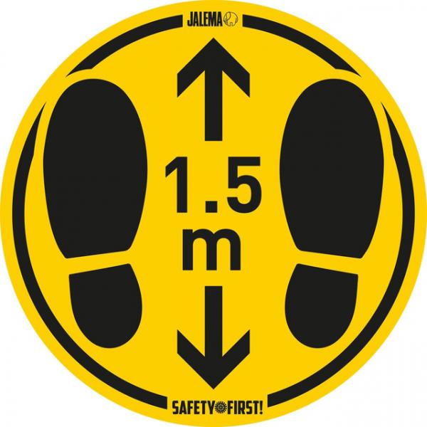 Vloersticker houd afstand geel/zwart 350mm gladde vloer ds/2