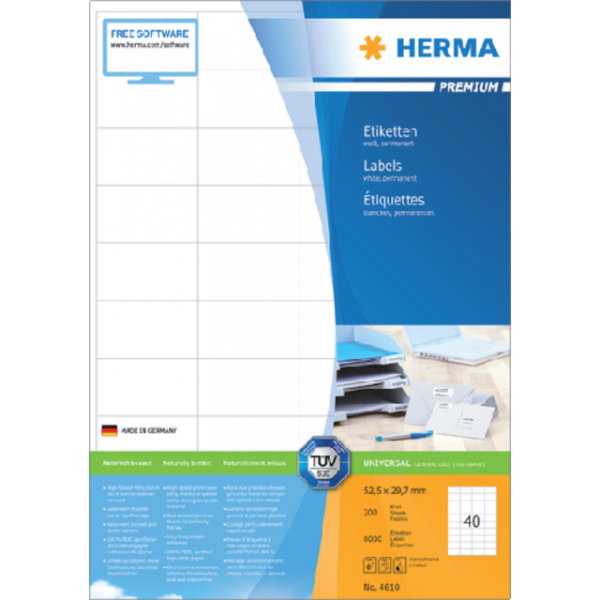 Etiket herma superpr 4610 52.5x29.7mm 8000st