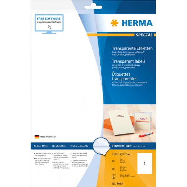 Transparante inkjet folie-etiketten a4 210x297mm(8964)