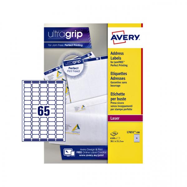 Etiket avery l7651-100 38.1x21.2mm 6500st