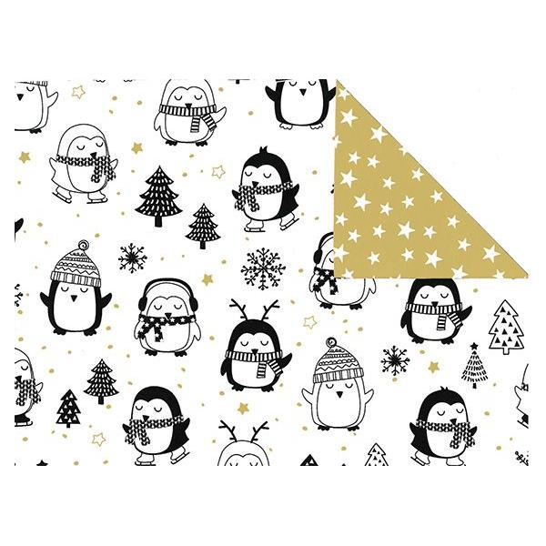 Kerst papier, 50cm x 200m, 28702R, Pengiun on holiday