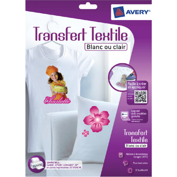 T-shirt transfer avery c9405-8 licht textiel 8st