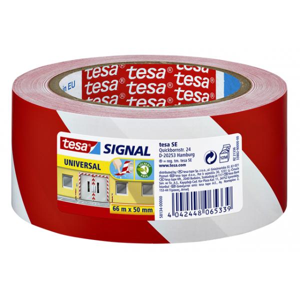Waarschuwingstape tesa 58134 50mmx66m rood/wit(58134-00000-0
