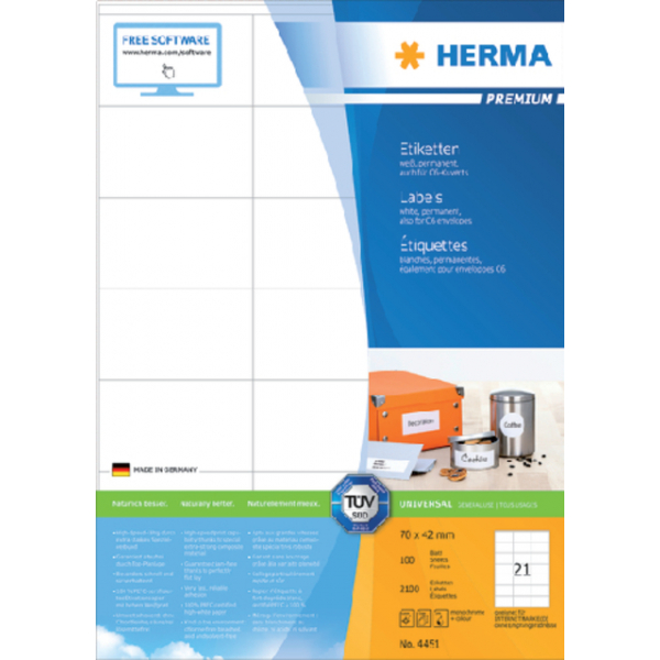 Etiket herma superprint 4451 70x42mm 2100st