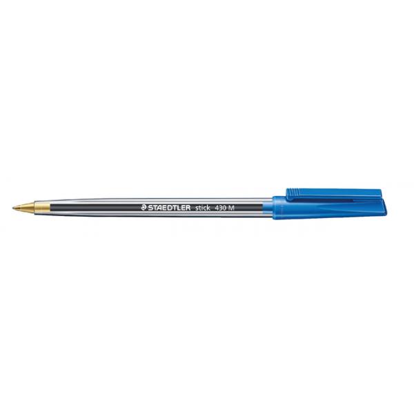 Balpen staedtler stick 430 medium blauw