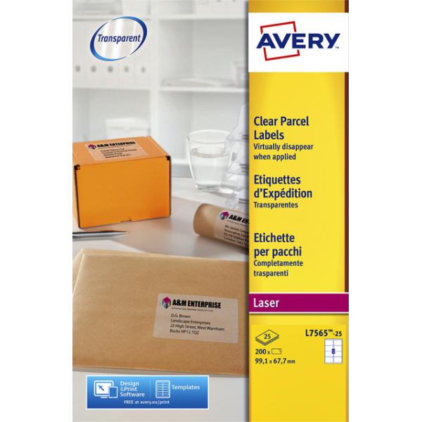 Etiket avery l7565-25 99.1x67.7mm transp 200st