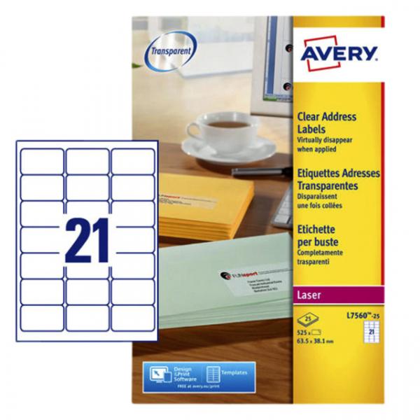 Etiket avery l7560-25 63.5x38.1mm transp 525st