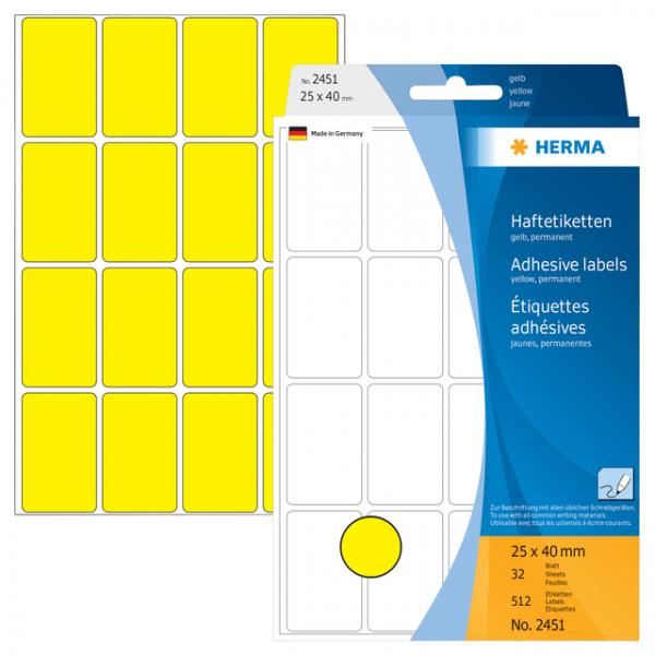 Etiket herma 2451 25x40mm 512st geel