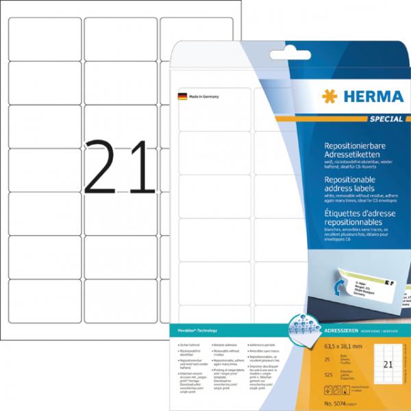 Etiket herma superprint 5074 63.5x38.1mm 525st