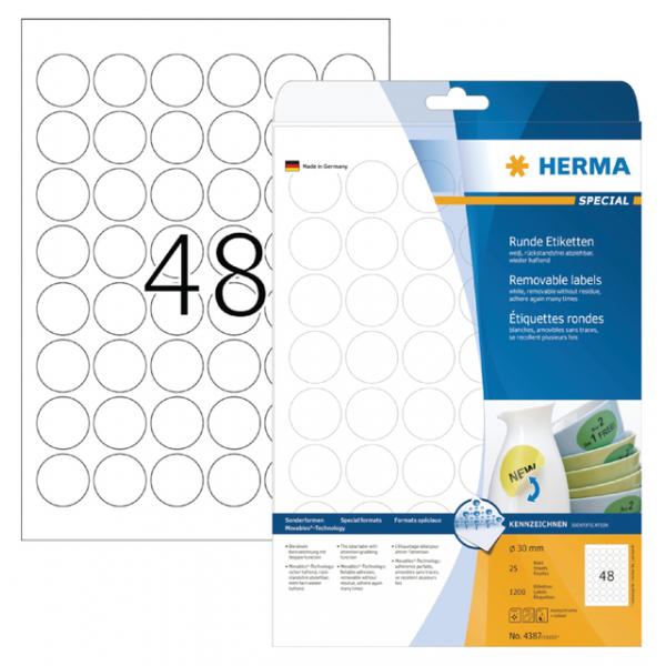 Etiket herma superprint 4387 rond 30mm 1200st