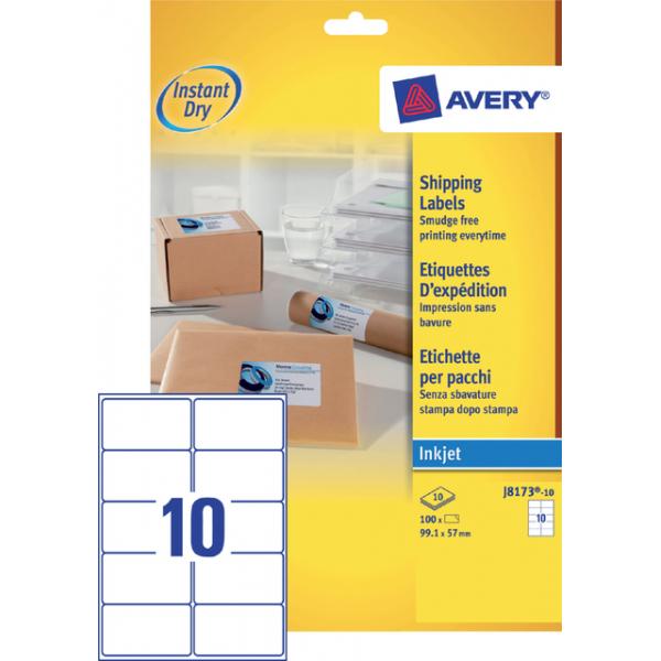 Etiket avery j8173-10 99.1x57mm 100st