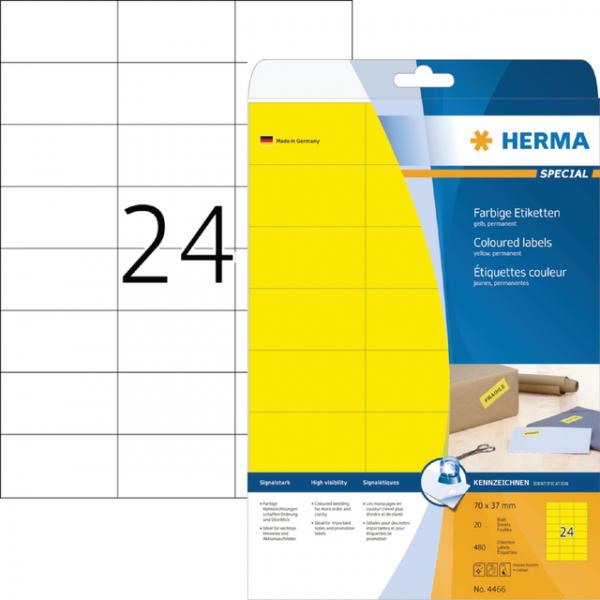 Etiket herma 4466 70x37mm verwijderbaar geel 480st(4466)