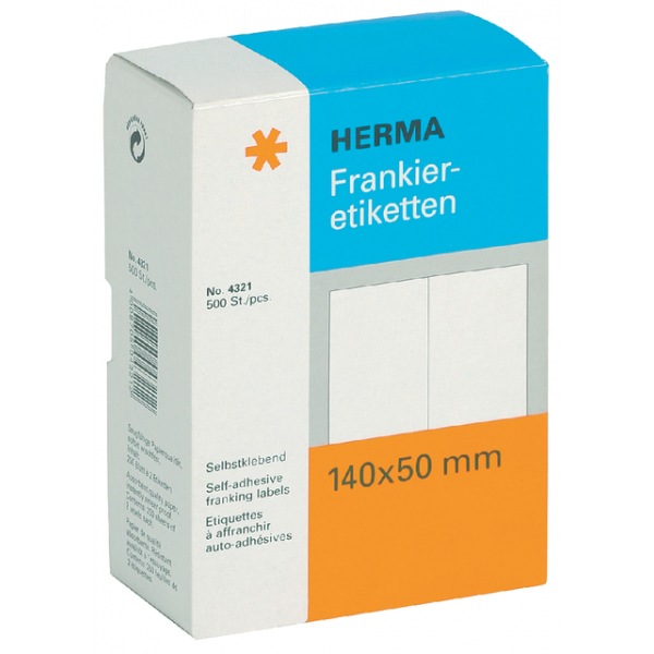 Etiket herma frankeer 4321 140x50mm 500st dubbel