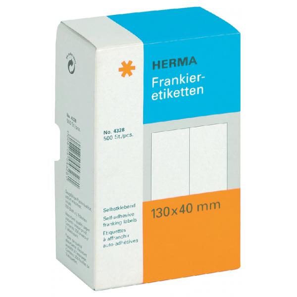 Etiket herma frankeer 4328 130x40mm dubbel 500st