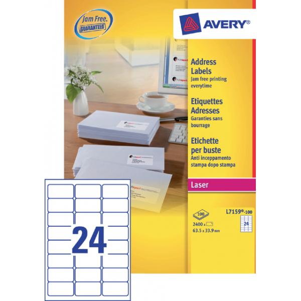 Etiket avery l7159-40 63.5x33.9mm 960st