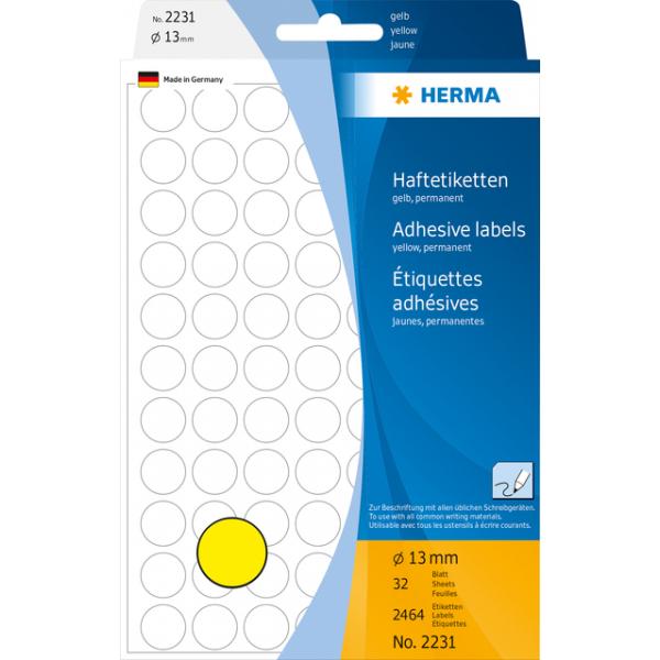 Etiket herma 2231 rond 13mm geel 2464st