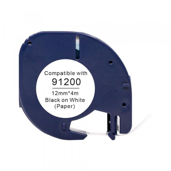 Lettertape compatible Dymo 91200 letratag 12mmx4m papier wit
