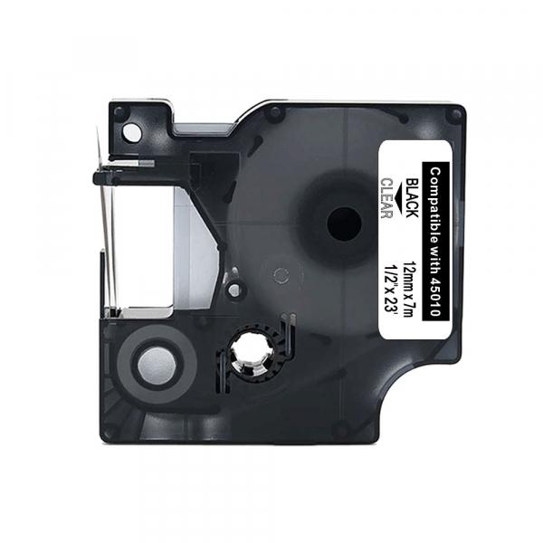 lettertape compatible dymo 45010 12mmx7m transp/zwart