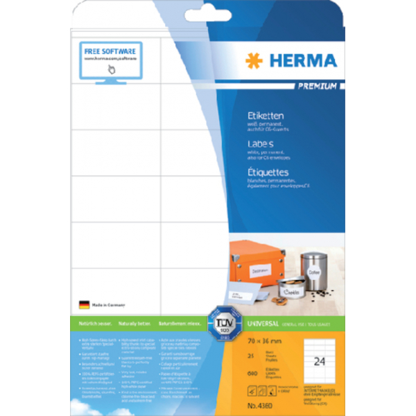 Etiket herma superprint 4360 70x36mm 600st