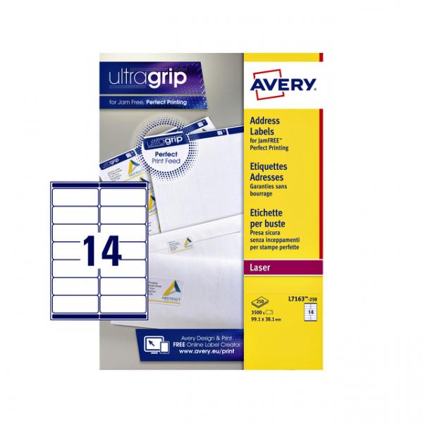 Etiket avery l7163-250 99.1x38.1mm 3500st