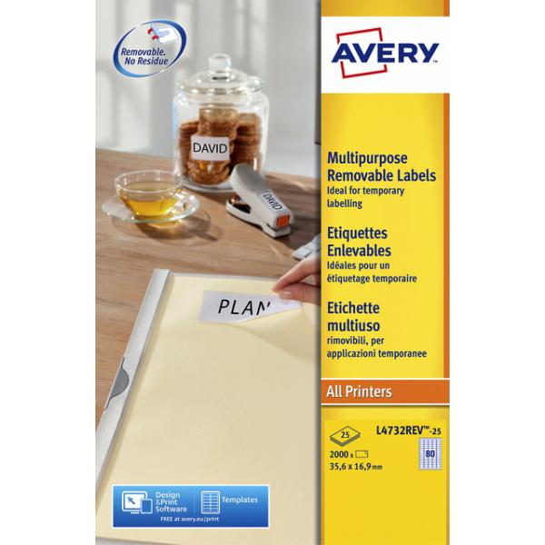 Etiket avery l4732rev-25 35.6x16.9 2000st