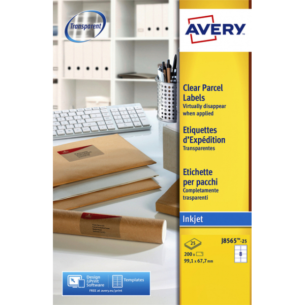 Etiket avery j8565-25 99.1x67.7mm transp 200st