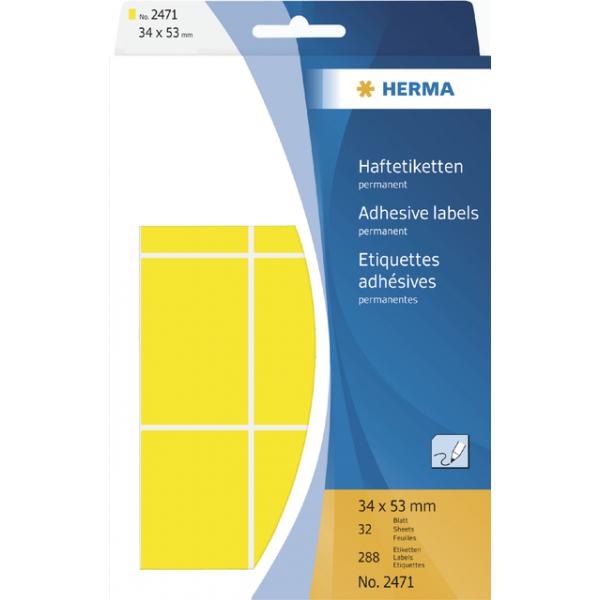 Etiket herma 2471 34x53mm 288st geel