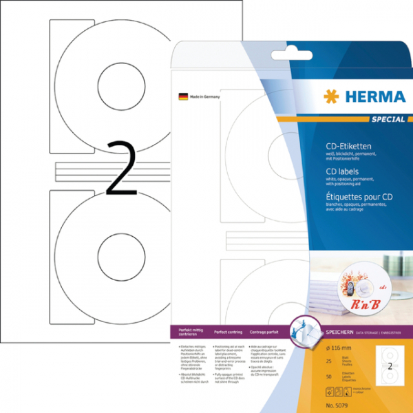 Etiket herma superprint 5079 cd 116mm 50st