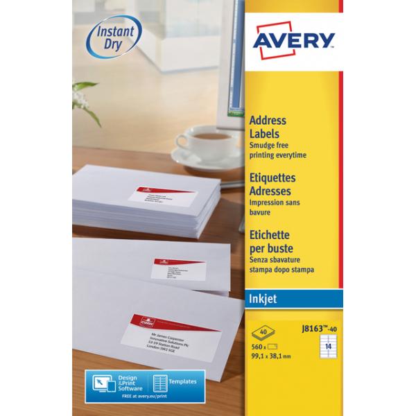 Etiket avery j8163-40 99.1x38.1mm 560st