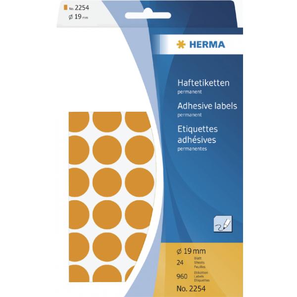 Etiket herma 2254 rond 19mm fluor oranje