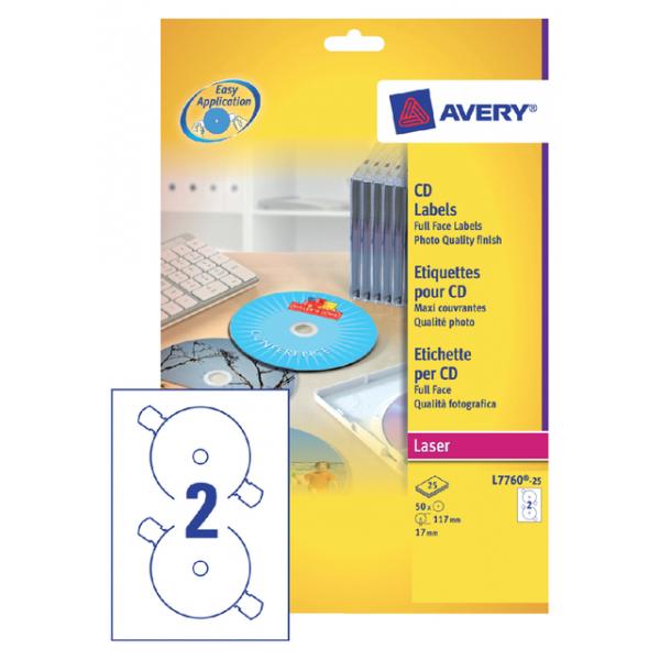 Etiket avery cd l7760-25 laser hoog glans 50st
