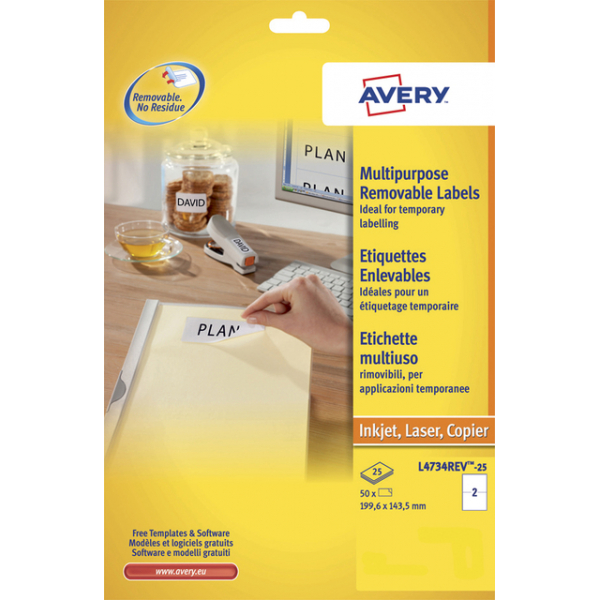 Etiket avery l4734rev-25 199.3x143.5mm0 a5 50st
