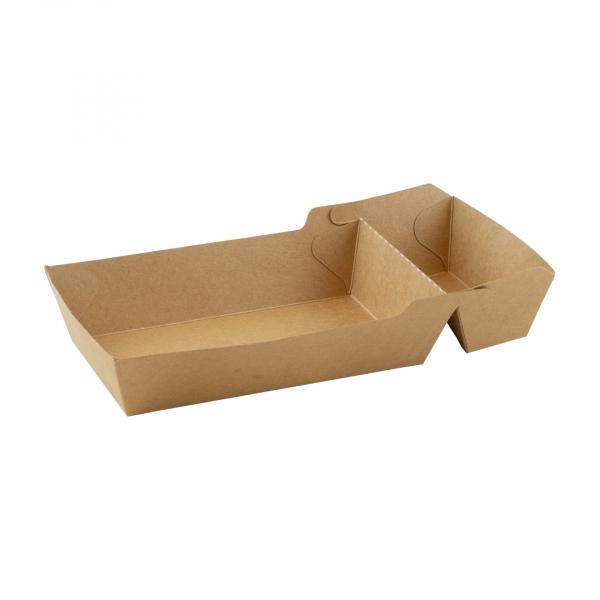 Snackbakje, kraft, PLA, A22 (A9 + saus) (600 stuks)