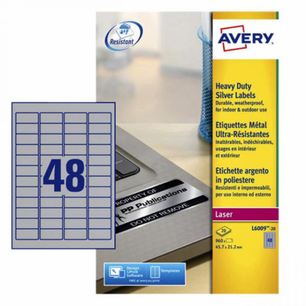 Etiket avery l6009-20 45.7x21.2mm zilver 960st
