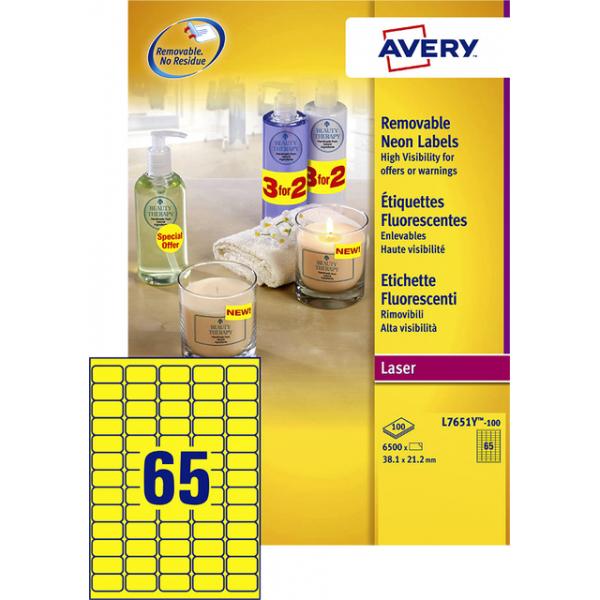 Etiket avery l7651y-100 38.1x21.2mm neon geel