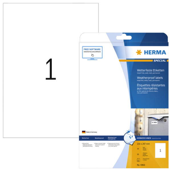 Etiket herma 4866 210x297mm a4 polyester wit(4866)