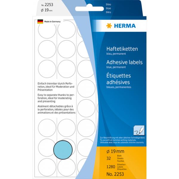 Etiket herma 2253 rond 19mm 1280st blauw