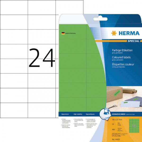 Etiket herma superprint 4469 70x37mm groen 600st
