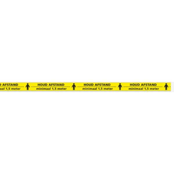 Vloermarkeringstape 50mmx33mtr, Geel houd afstand / pak 6rol