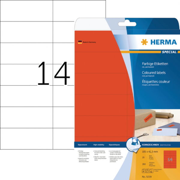Etiket herma superprint 5059 105x42.3mm rood 350st