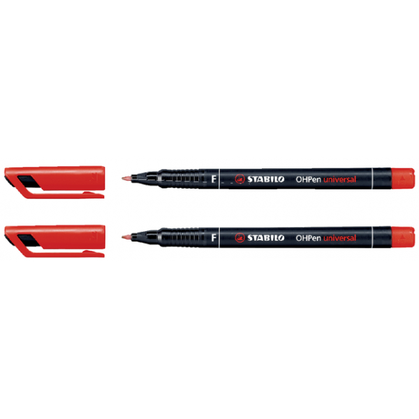 Viltstift stabilo ohp f842 perm rond 0.6mm rood