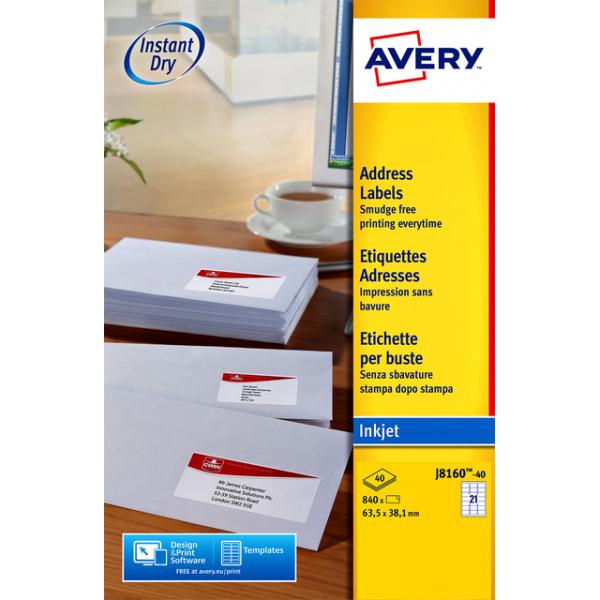 Etiket avery j8160-40 63.5x38.1mm 840st