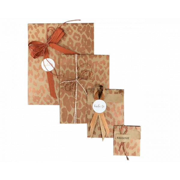 Geschenk zak, 17,5x21.5cm, leopard koper (200 stuks)