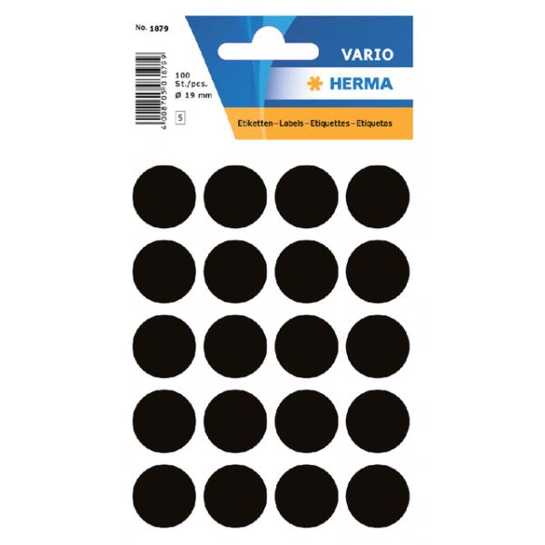Etiket herma 1879 rond 19mm 100st zwart