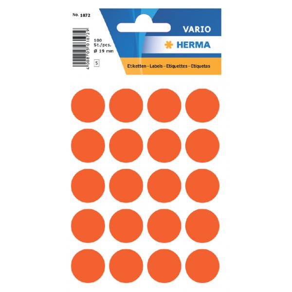 Etiket herma 1872 rond 19mm 100st rood
