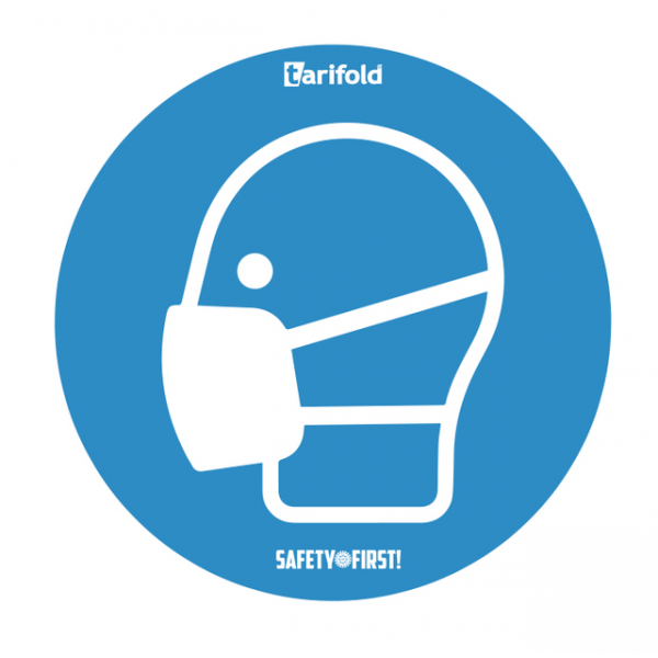 Sticker tarifold mondmasker verplicht rond diameter 25cm 2x