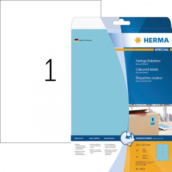 Etiket herma superprint 4423 a4 blauw 25st