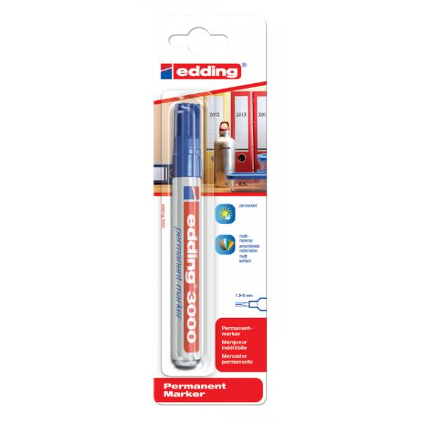 Viltstift edding 3000 perm rond 1.5-3mm blauw