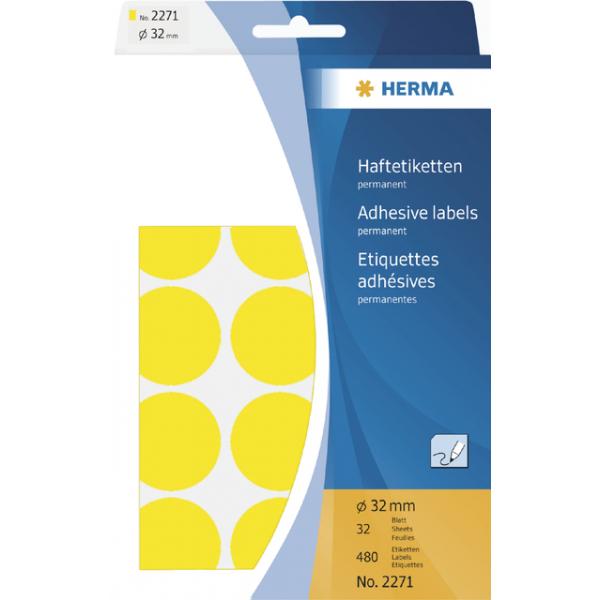 Etiket herma 2271 rond 32mm 480st geel